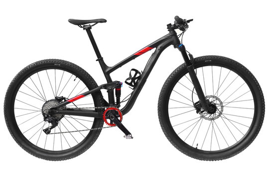 A mountain bike with front and rear suspensions isolated on white background
