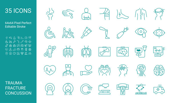 Set of icons of trauma, fracture, concussion. Editable vector stroke. 64x64 Pixel Perfect.
