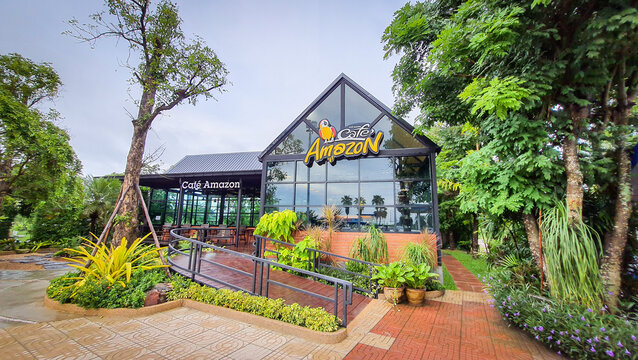 Udonthani, THAILAND - July 04,2020 : Cafe Amazon beverage shop at PTT Oil station on July 04, 2020 in Udonthani, THAILAND. It's a famous Thai franchise coffee house in Thailand.
