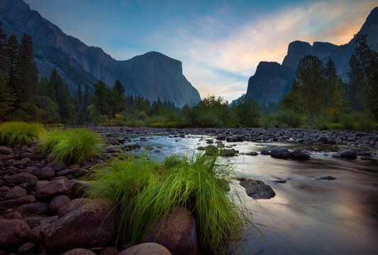 Peaceful morning at Merced River, long exposure, Yosemite