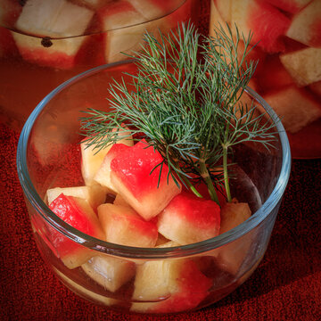 Watermelon rind pickled in vinegar and spices