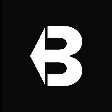 Creative, simple and elegant Initial letter B arrow logo template in flat design monogram illustration