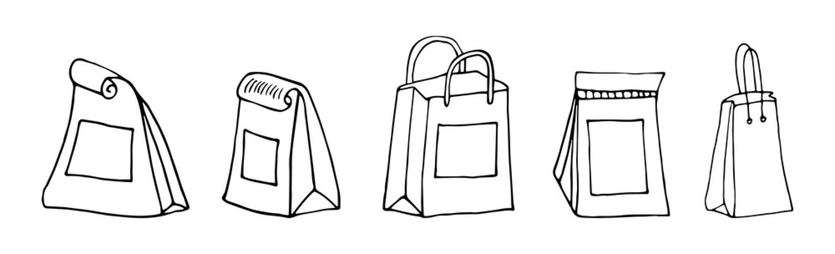 Lunch bags.set of craft paper bags.Various lunch bags.Lunch bag set hand drawn. collection lunch bags isolated. Paper lunch box collection vector sketch.packing of coffee isolated on white background.