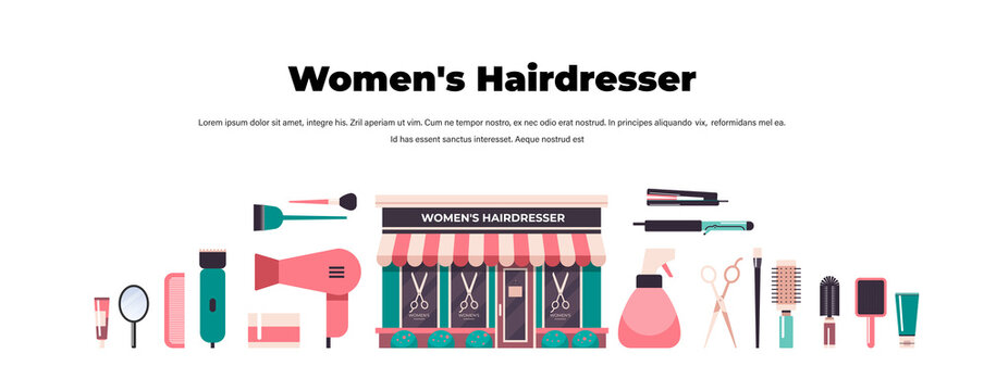 set hairdresser tools and accessories collection beauty salon concept horizontal copy space vector illustration