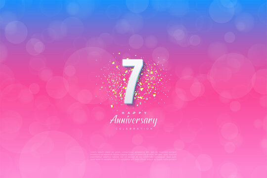 7th Anniversary with background graded from blue to pink.