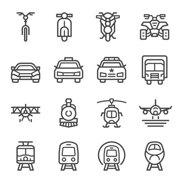 vehicle and transportation front view thin line icon set,vector and illustration