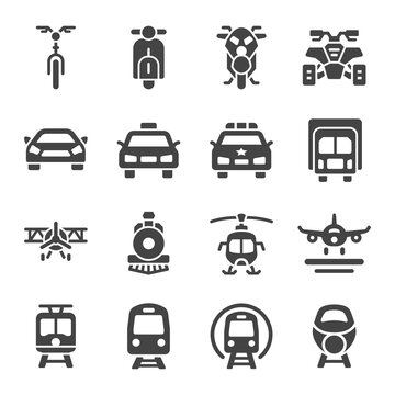vehicle and transportation front view icon set,vector and illustration