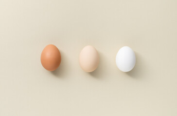 Three eggs different color