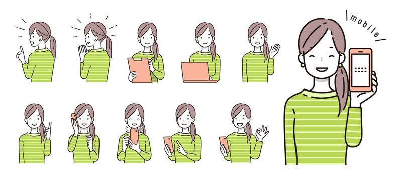 スマホ・PC・デジタルにまつわる女性のイラスト