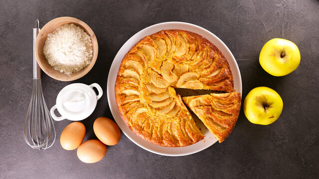apple pie with ingredient- top view