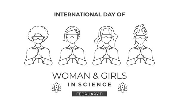 International Day of women and girls in science. Editable banner design with scientist illustration. The outline drawing style of scientist. Usable for banner, card, and background. Flat design vector