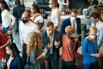 Obraz Diverse startup business people with masks in the new normal - fototapety do salonu