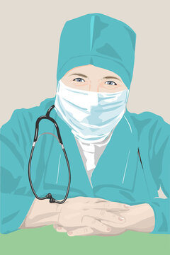 Woman medical doctor portrait. Female character in medical uniform and face mask. Coronavirus epidemic. Concept Vector illustration. Working in a hospital or clinic.