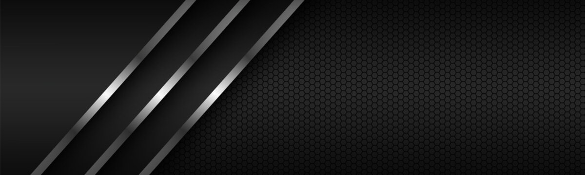 Abstact header with silver lines on overlapped layers and polygonal pattern. Template for your banner and presentation. Modern vector design illustration