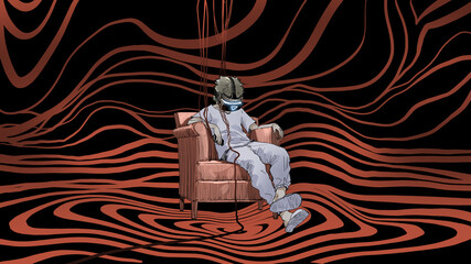 Wall Murals Grandfailure man sitting on armchair wearing virtual reality headset, digital art style, digital painting