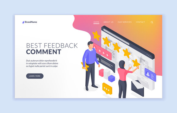 People leaving best feedback comment. Isometric vector banner