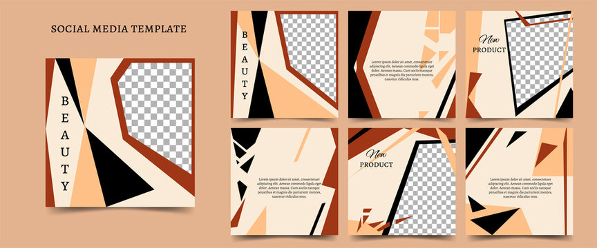 Square postcards in black, terracotta, beige with geometric shapes. Vector template for social networks, blog, advertising promotion. Place for text