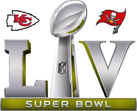 Super Bowl 2021 LV Logo Editorial Illustrative, Tampa Bay Buccaneers vs Kansas City Chiefs