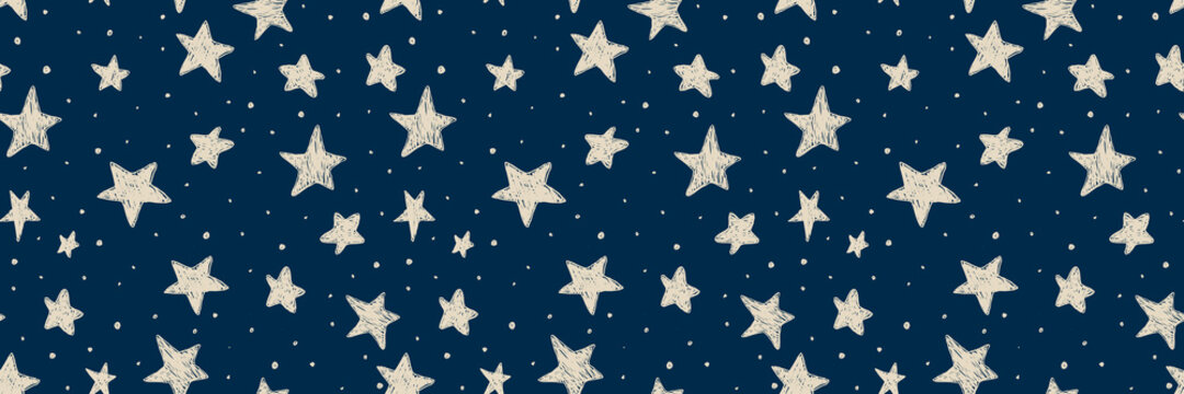 Vector kids pattern with doodle textured stars. Vector seamless background, black, gray, white, scandinavian style