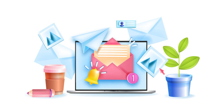 Subscribe to newsletter vector 3D concept, sign up to mailing list illustration, laptop, opened envelope. Email marketing, social media business banner, notification bell. Subscribe newsletter design
