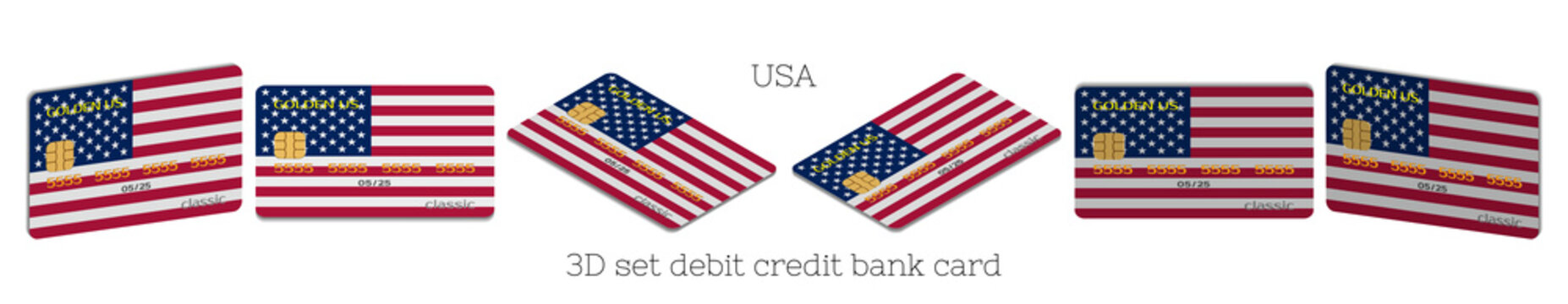 3D set of plastic bank cards with the USA flag in six projections and a shadow on white background. EPS10