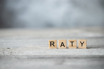 Fototapeta Słowo raty z drewnianych liter obraz