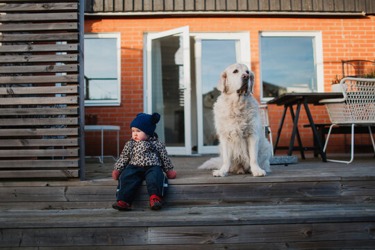 Baby girl and dog on patio