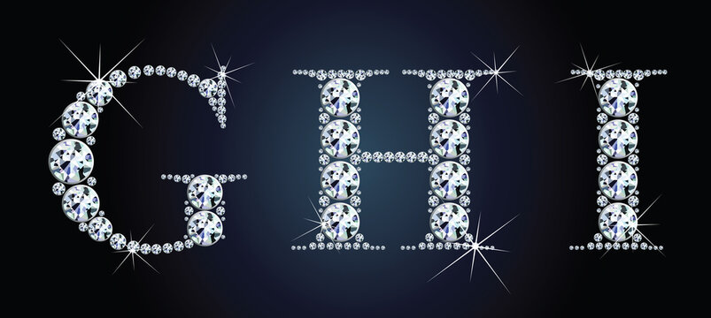 Diamond alphabet letters. Stunning beautiful GHI jewelry set in gems and silver. Vector eps10 illustration.