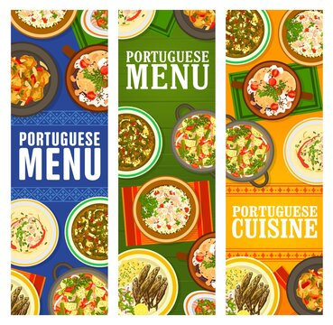 Portuguese cuisine restaurant menu dishes banners. Pork tenderloin, Bacalhau a Bras cod fish, sausage and beef vegetable stew, Kale cabbage and bean soup, paella Mariscada, grilled sardines vector