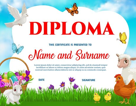 Education school kids diploma with vector Easter eggs, chicken with chicks, bunny, lamb and flowers on spring meadow with dove and butterflies. Kindergarten certificate, cartoon award frame template