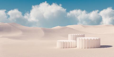 Premium minimal product podium with architecture columns on sand dunes. 3d rendering cosmetic podium background. - fototapety na wymiar