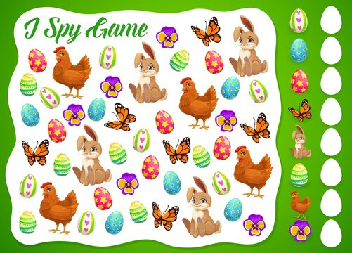 I spy Easter kids game or puzzle vector template. Children education worksheet of I spy game with find and count cartoon Easter eggs, bunnies, chicks and butterflies, spring flowers and chickens