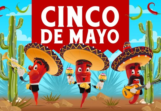 Cinco de Mayo chilli pepper musicians with sombreros, vector Mexican holiday fiesta party. Red jalapeno mariachi cartoon characters playing guitar, maracas and trumpet, cactuses and agave