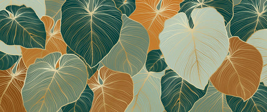 Luxury nature leaves background vector. Floral pattern, Tropical leaf with line arts, jungle plants, Exotic pattern with palm leaves. Vector illustration.