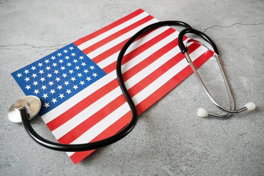 National american flag and heart. american heart month in February