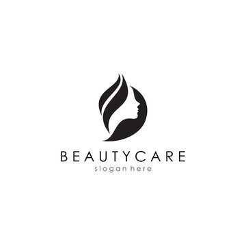professional logo template. skin care logos or for salons, women's facial silhouettes. vector eps 10.
