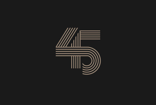 Number 45 Logo, Monogram Number 45 logo multi line style, usable for anniversary and business logos, flat design logo template, vector illustration
