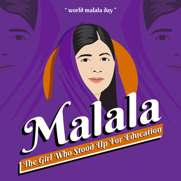 world malala day. Vector illustration, poster or banner for Malala. The Girl Who Stood Up for Education. EPS 10