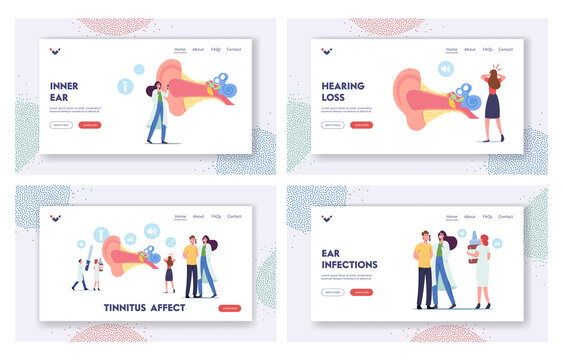 Ear Pain, Tinnitus, Otitis, Landing Page Template Set. Tiny Characters Doctors and Patients at Huge Human Ear Anatomy