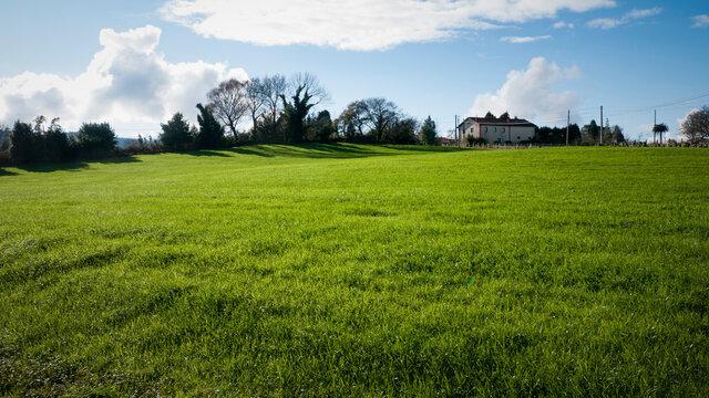 Casa blanca con tejado en lo alto de colina de hierba verde bajo cielo azul con nubes blancas