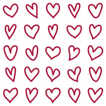 Love hearts with solid line. cute shape of love, hand drawn romantic heart and valentines day symbol, vector template ai and eps10