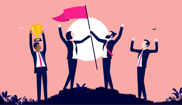 Winning team - Business people celebrating triumph and success after great teamwork, with victory flag, trophy and raised hands. Vector illustration.