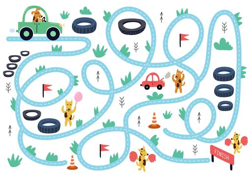 Help the cute dog drive to finish. Maze puzzle for kids. Car race activity page with funny animals. Mini game for school and preschool children. Vector illustration