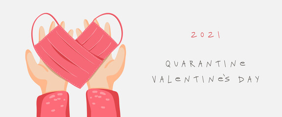 Valentine s day banner with medical masks, heart, hands. Quarantine Valentine s day, vector EPS 10