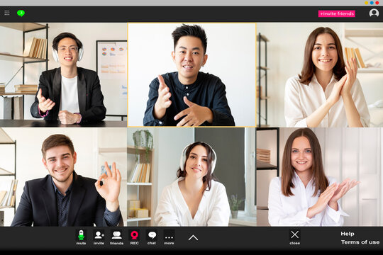 Online chat. Virtual conference. Business webcast. Group telecommuting. Diverse multiethnic corporate team working from home on project having remote discussion at virtual office on screen.