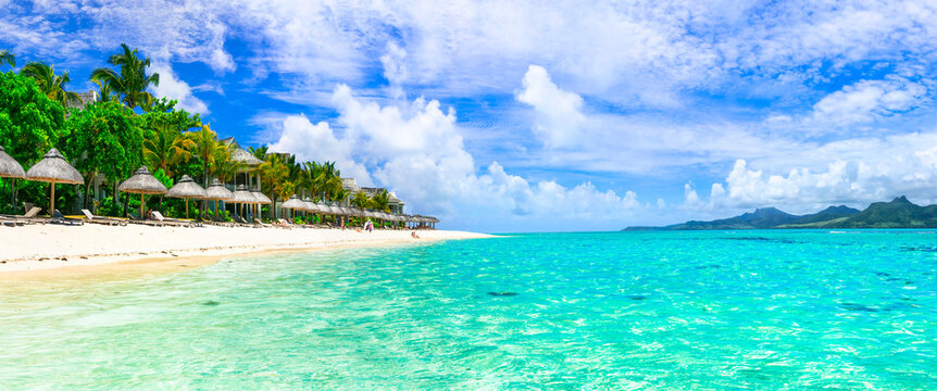 Tropical relaxing holidays in one of the best beaches of Mauritius island Le Morne