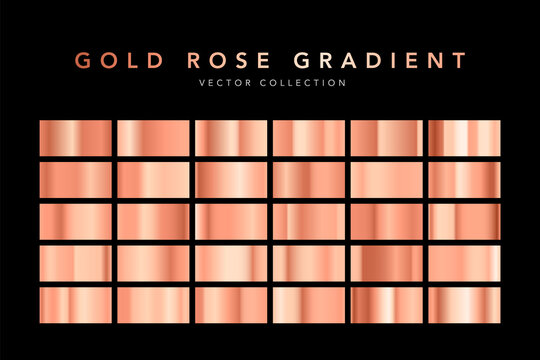 Set of gold rose foil texture isolated on black background. Collection of pink metallic textures. Vector illustration