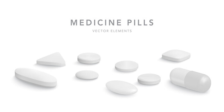 3d realistic white medical pills isolated on white background. Collection of oval, round and capsule shaped tablets. Medicine and drugs. Vector illustration
