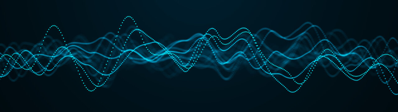 Abstract blue background of points. Music wave of cyber particles. Graph. Big data stream. 3d rendering
