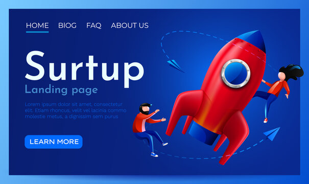 People fly around launching rocket. Startup, project launch or innovation concept. Landing page website template.